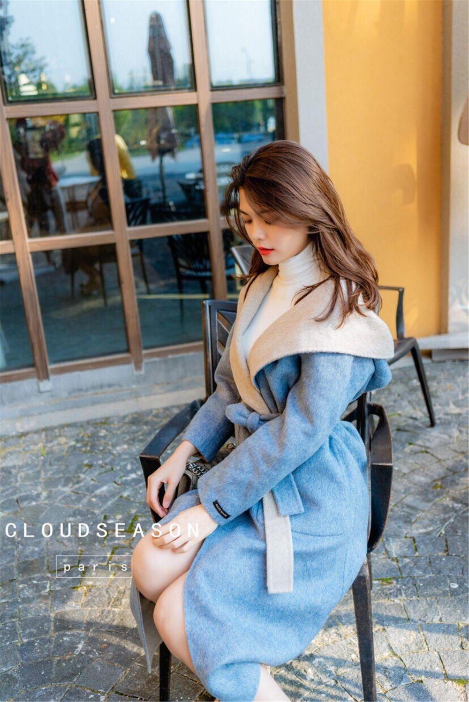 CLOUDSEASON女士蓝灰双面大衣连帽浴袍风秋冬中长款气质外套