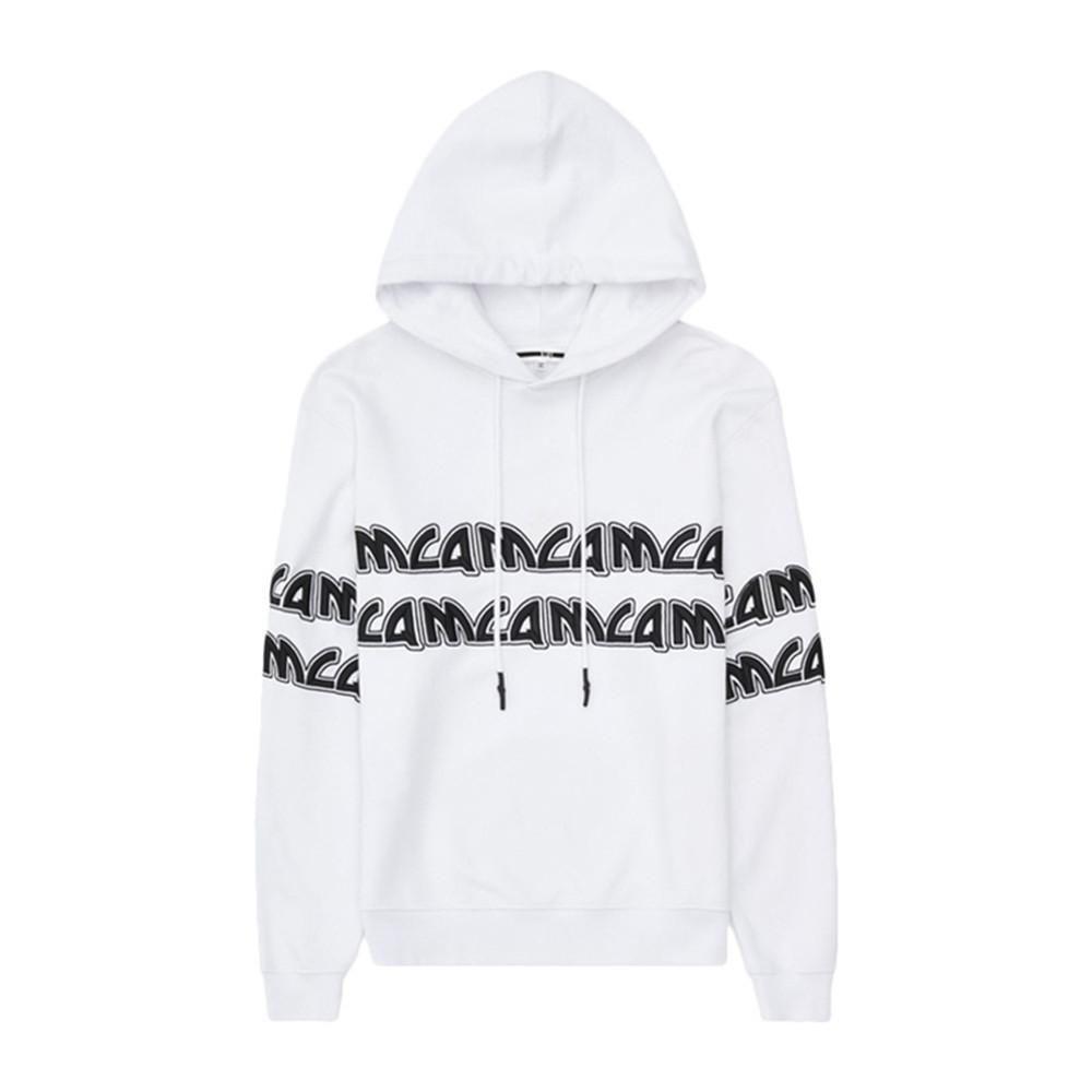 MCQ 男士白色棉质字母logo印花刺绣长袖卫衣连帽衫套头衫上衣