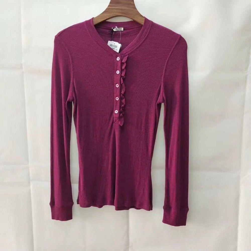 【断码特价】MiuMiu  缪缪女式洋红色莫代尔长袖针织衫 1件L码