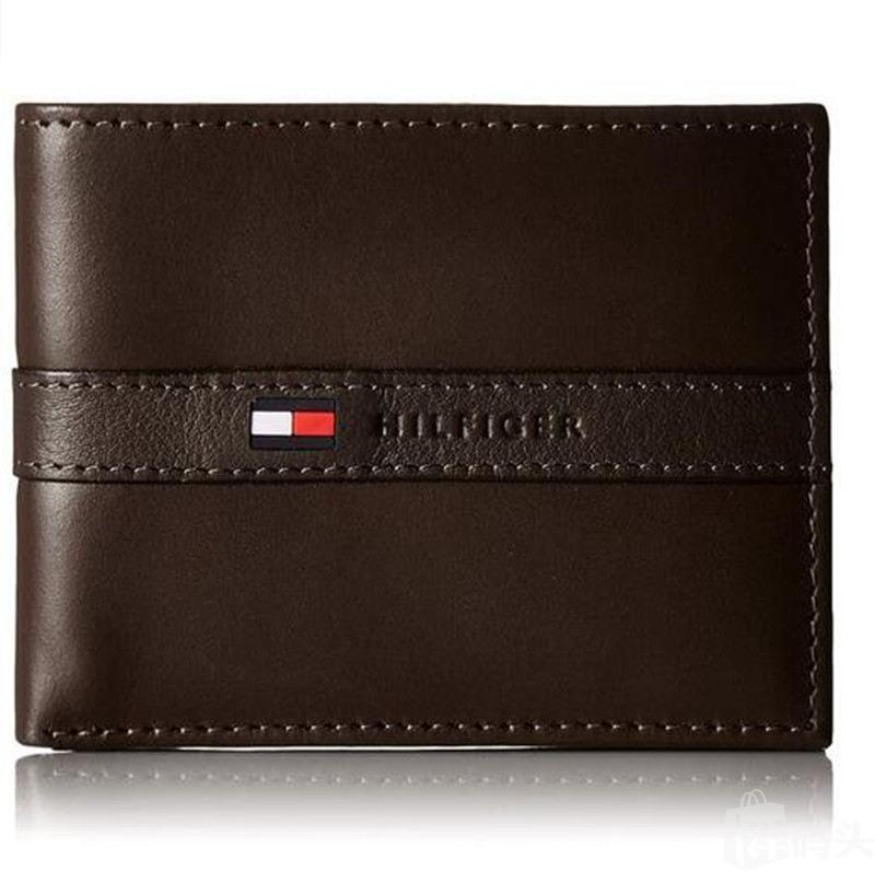 汤米男士真皮短款皮夹钱包 Tommy Hilfiger希尔费格 棕色