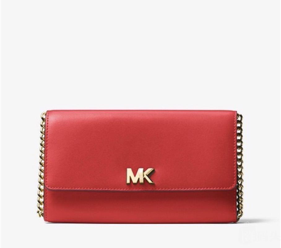 MK新款链条包 MK字母logo旋钮设计 皮质细腻