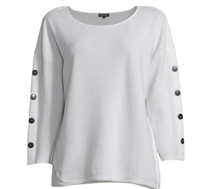 ESCADA 100%纯羊毛衫 女款 白色 原价439欧,现断码特价