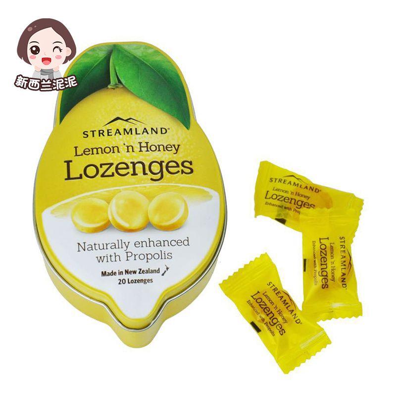 新西兰原装进口Streamland新溪岛蜂胶糖蜂蜜润喉糖果20粒维C柠檬