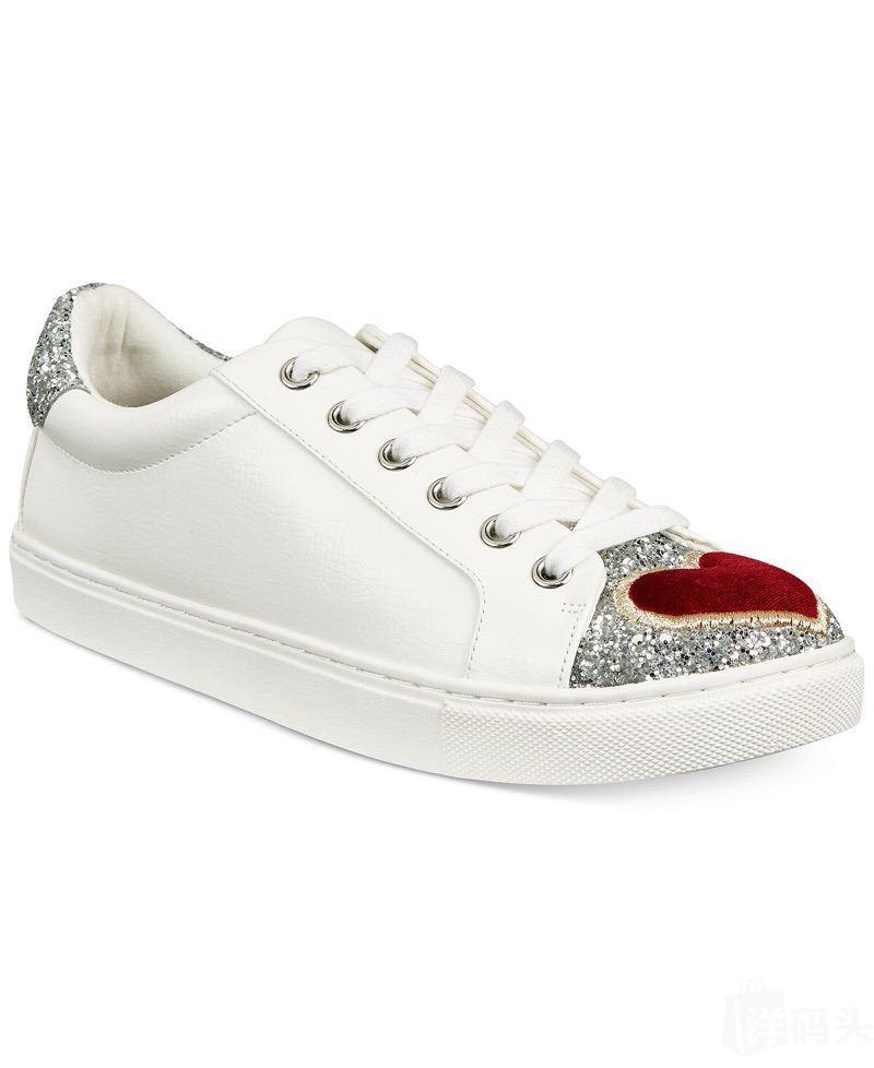 betsey johnson 爱心银尾运动休闲鞋小白鞋 亮闪闪