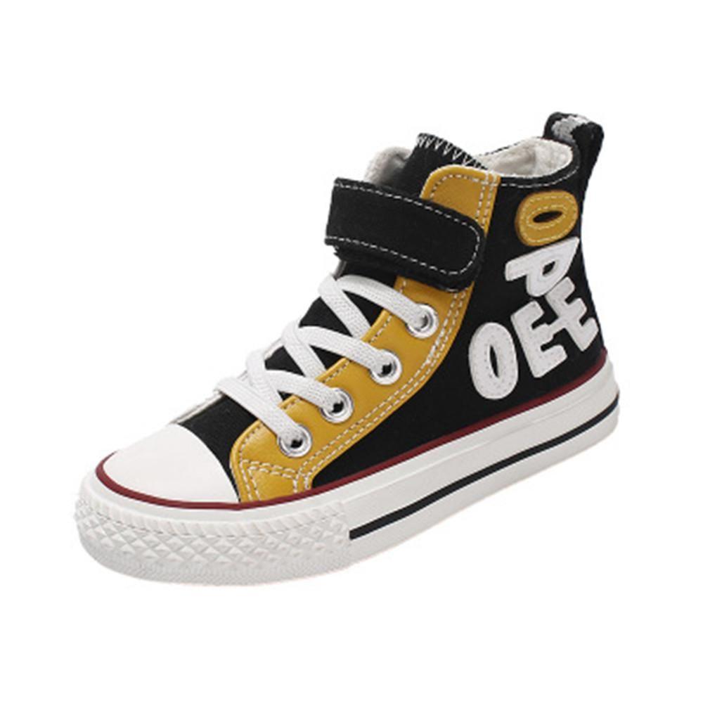 日本儿童帆布鞋春秋款韩版字母鞋男童女童鞋子高帮休闲板鞋大童鞋
