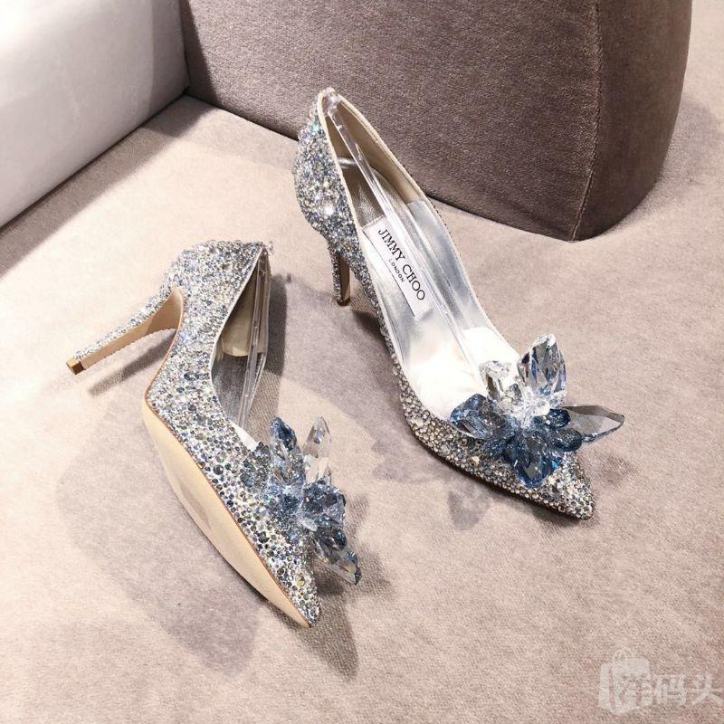 JimmyChoo 周仰杰专柜火爆款水晶鞋辛德瑞拉婚鞋高跟8.5cm