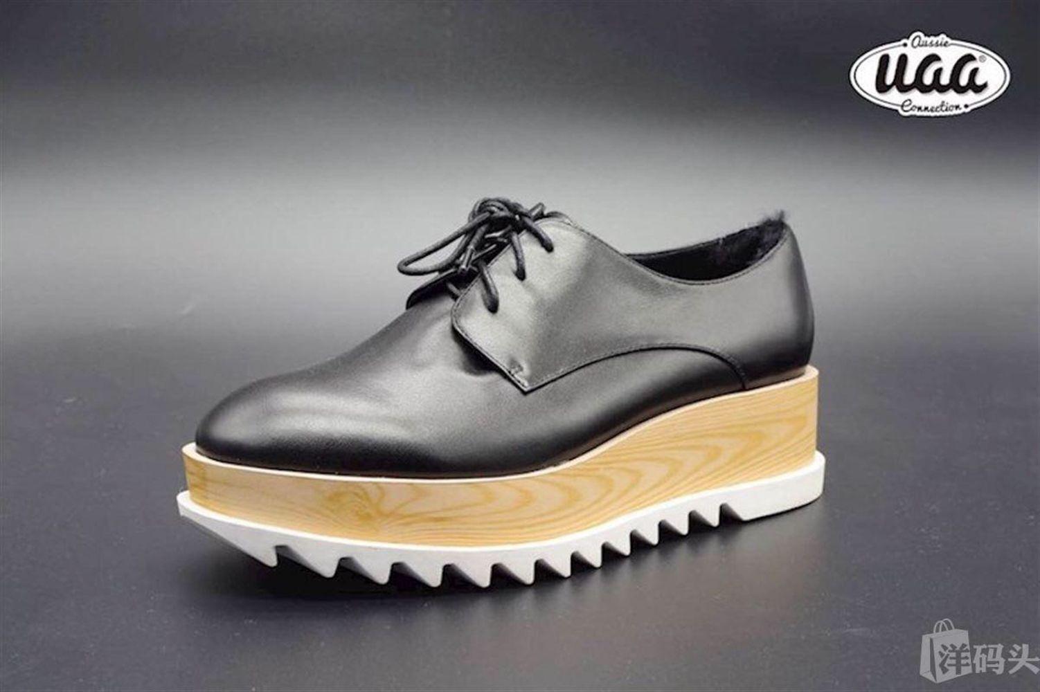 李冰冰李宇春同款Aussie UGG女鞋 锯齿厚底鞋木屐鞋 单鞋增高皮鞋
