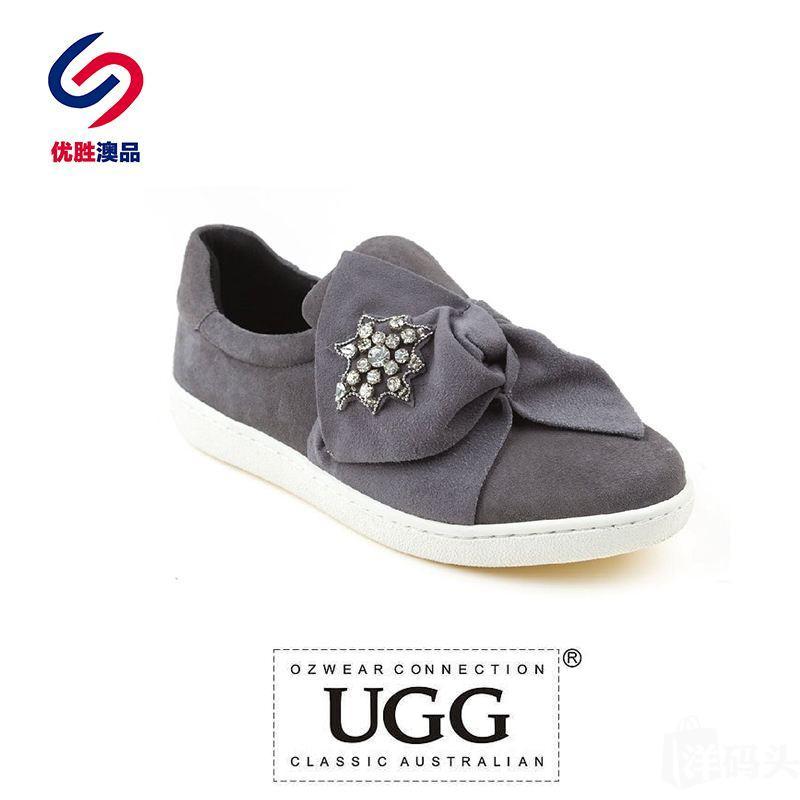 OZWEAR UGG 山羊绒异型蝴蝶结水钻星星装饰 轻奢舒适休闲鞋 OB324