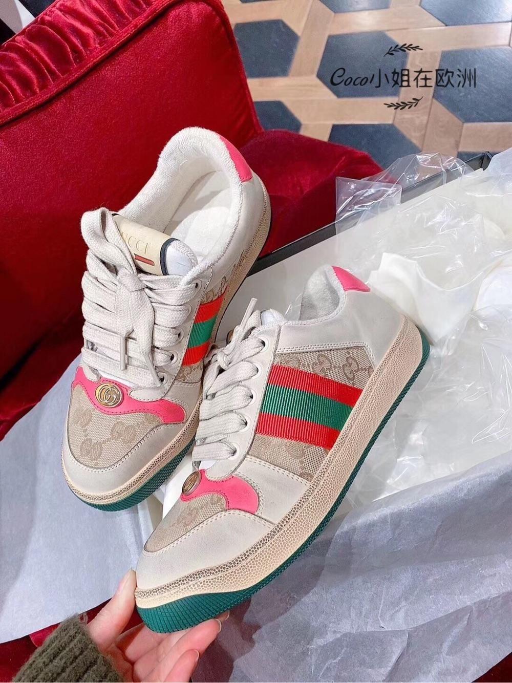 Gucci女鞋古驰Screener系列女士复古做旧皮革运动鞋