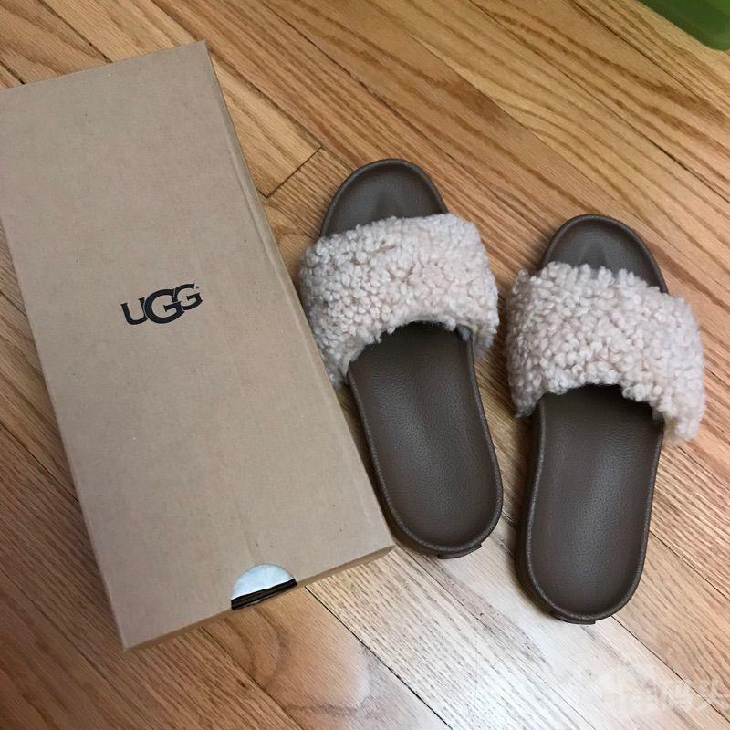 专柜正品UGG拖鞋 双层纯羊毛女鞋 时尚羊羔毛凉鞋 美国直邮折上折