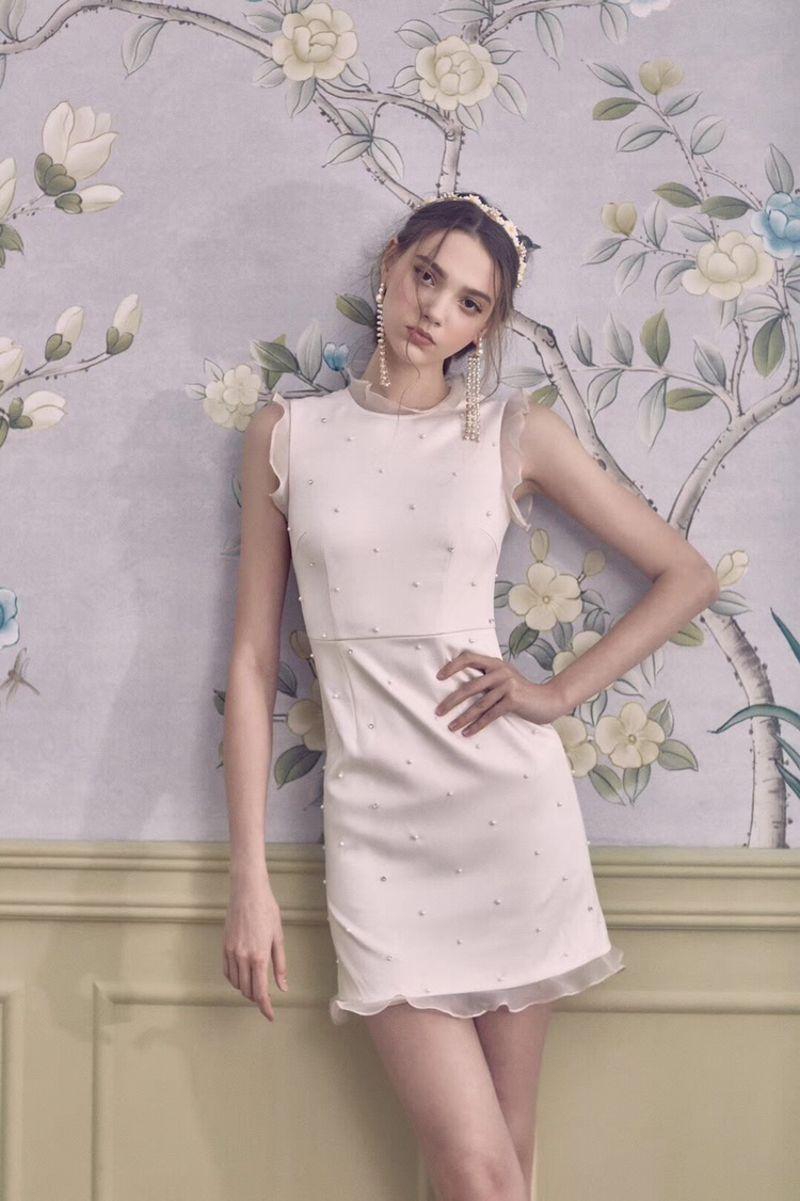?Marie Elie ?茉奈珍珠花边蕾丝钉珠连衣裙短裙