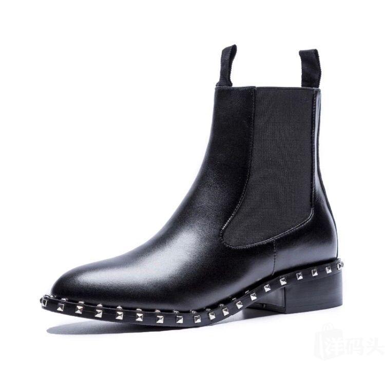 【新品】custom布洛克风铆钉粗跟短靴/皮靴  内里短绒/单里