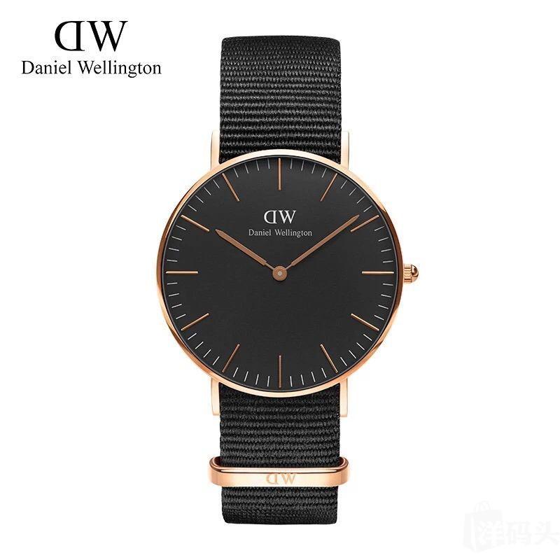 DW手表!40mm和36mm黑盘玫瑰金边尼龙表带!