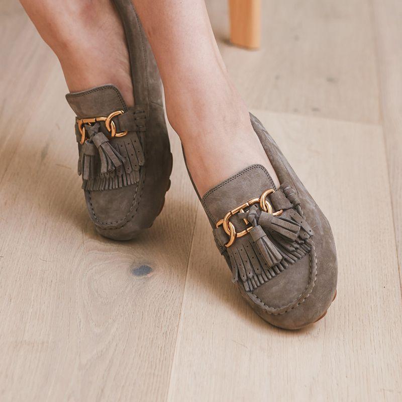 OZWEAR UGG女鞋 19年新款防泼水防尘流苏金属扣 豆豆鞋 OB425