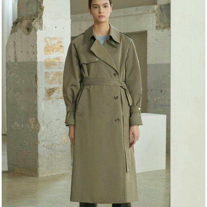 韩国Maysome风衣   女款长款宽松大翻领系带收腰系扣袖外套