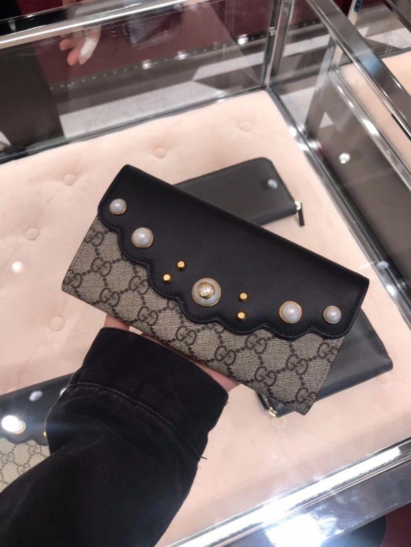 Gucci 古驰女包翻盖珍珠装饰长款钱包