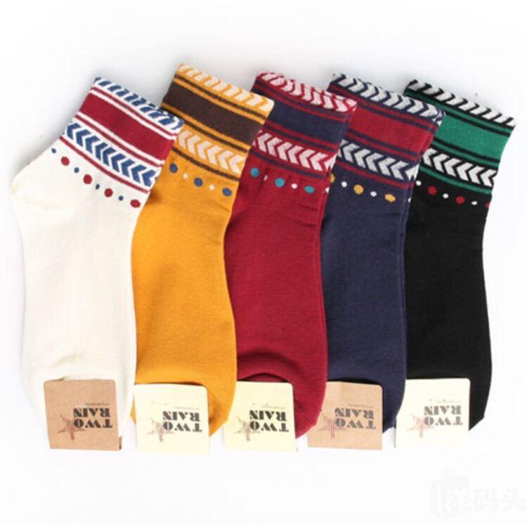 韩国KIKI彩色民族风组合印花女袜子彩色印花袜子女袜