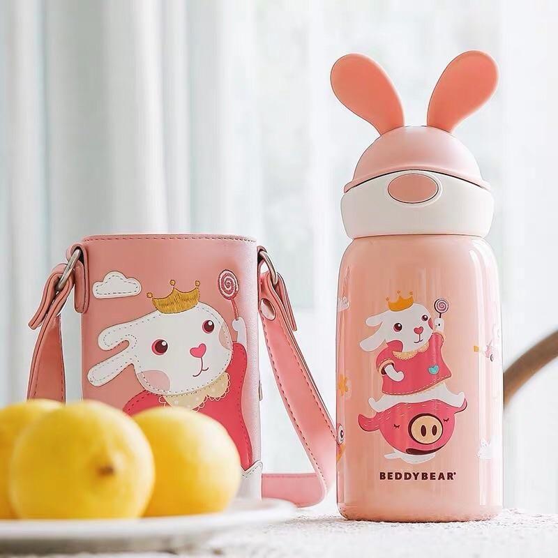 韩国杯具熊新款限量兔子带吸管一杯双盖宝宝幼儿便携防摔儿童保温