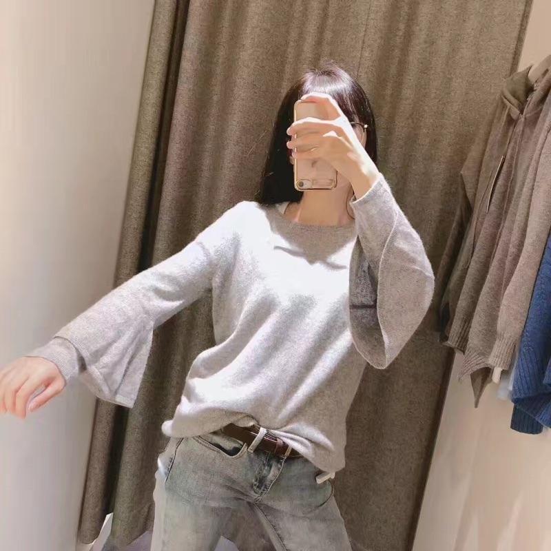 Npeal女士灰色羊绒针织衫,荷叶袖