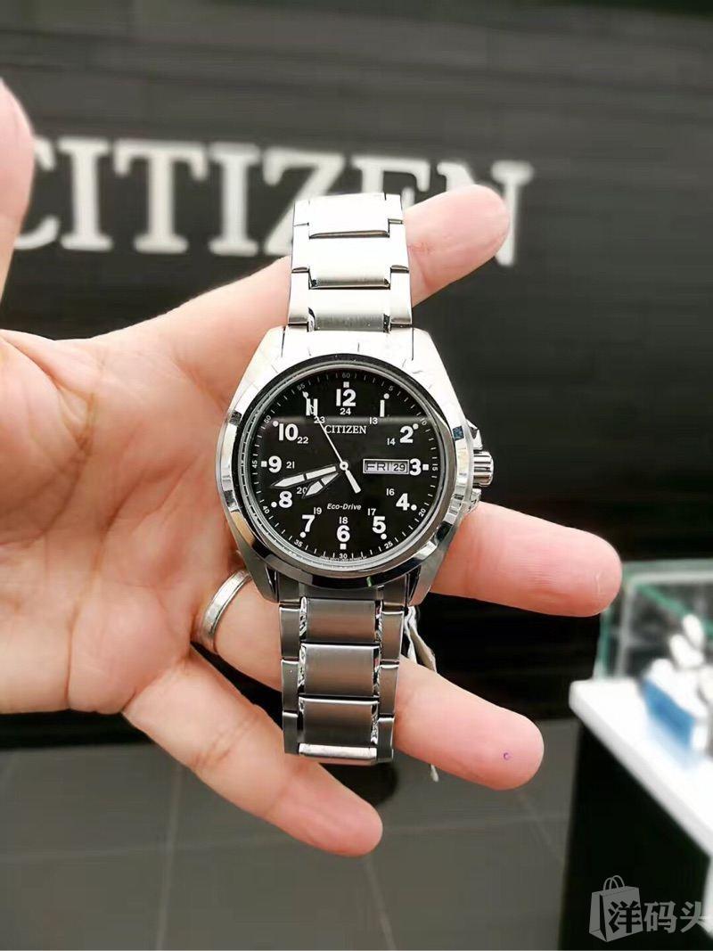 citizen西铁城光动能男表Drive 系列运动款式43mm表盘不锈钢表带