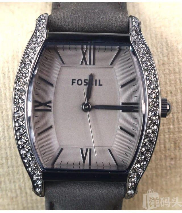 Fossil Wallace Leather真皮表带烟灰色水钻女石英石表ES3128