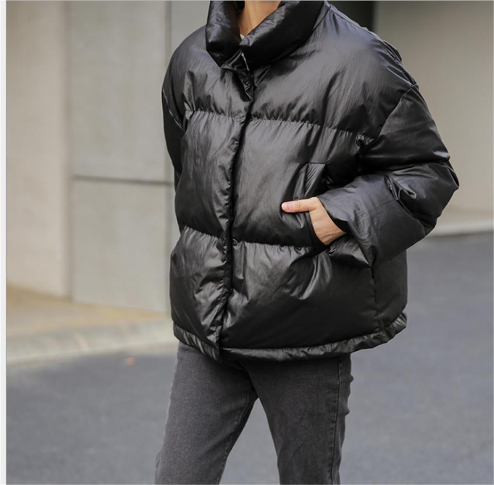 日本直邮2019冬季新款韩版时尚纯色简约宽松立领加厚棉衣面包服