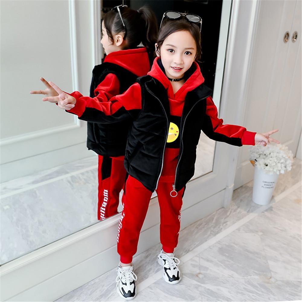 女童套装2020新款金丝绒儿童装秋季加绒日系洋气大童运动12岁15
