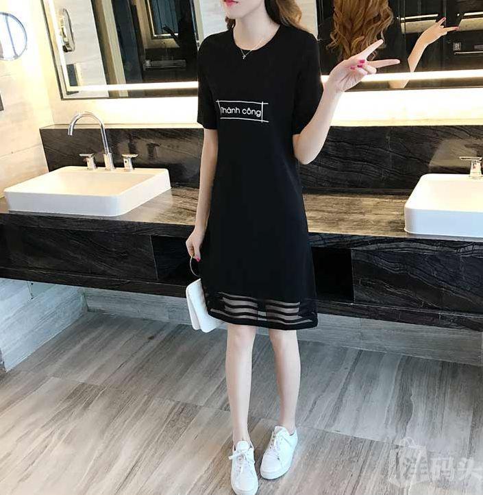 韩国CA大码字母镂空短袖纯棉T恤裙 显瘦 打底