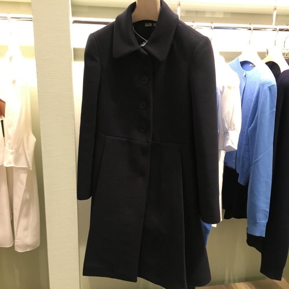 【折扣】MIUMIU缪缪女大衣深蓝色羊毛中长款大衣MS1132