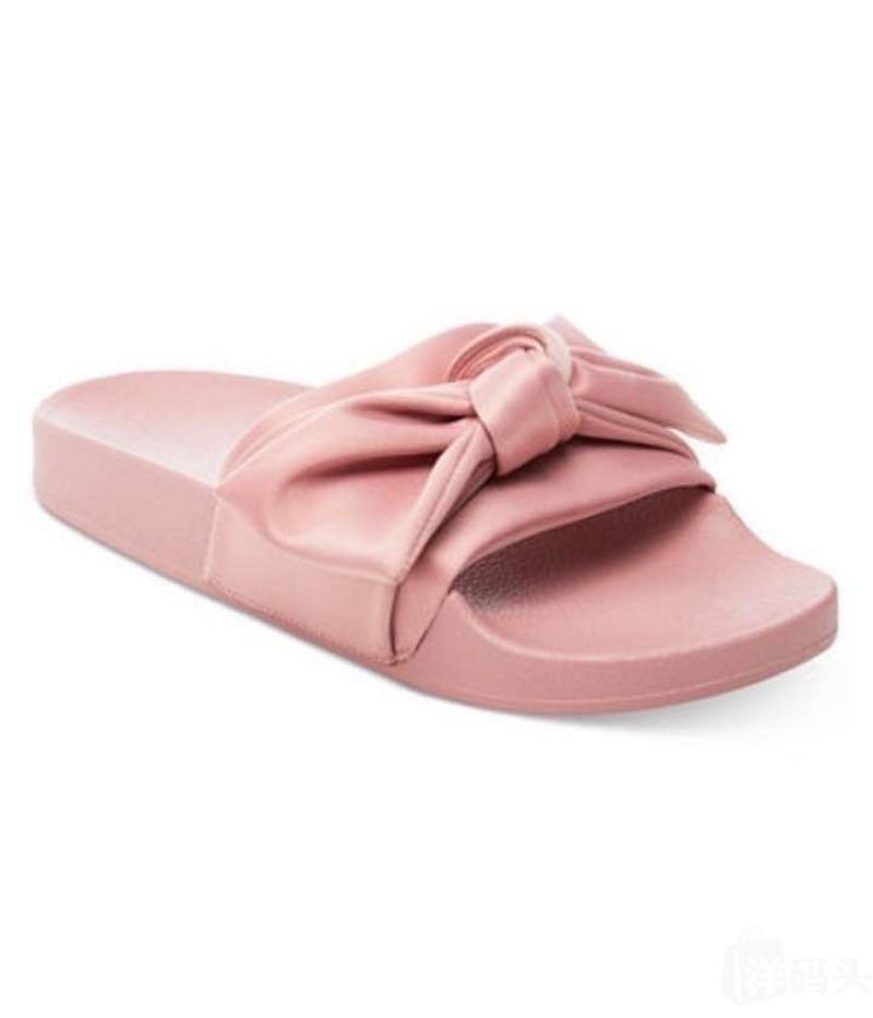 Steve madden 女鞋粉色蝴蝶结平底拖鞋OO清仓特价
