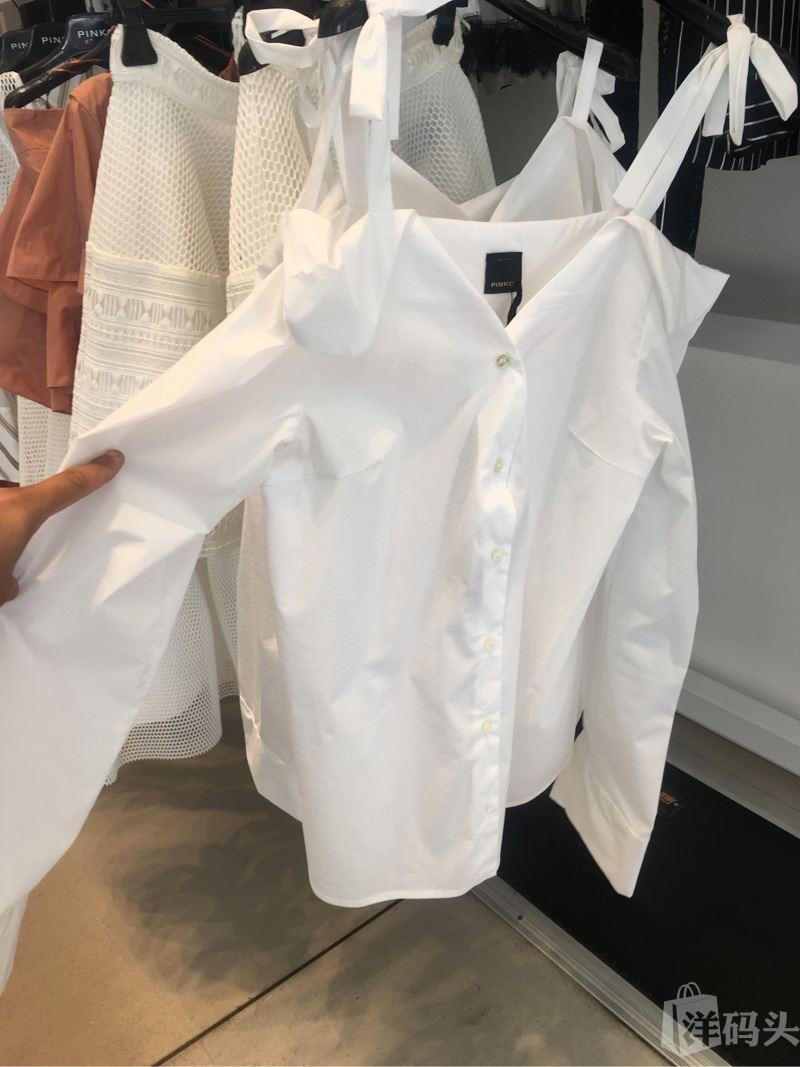 意大利pinko白色纯色质感女士长袖衬衫