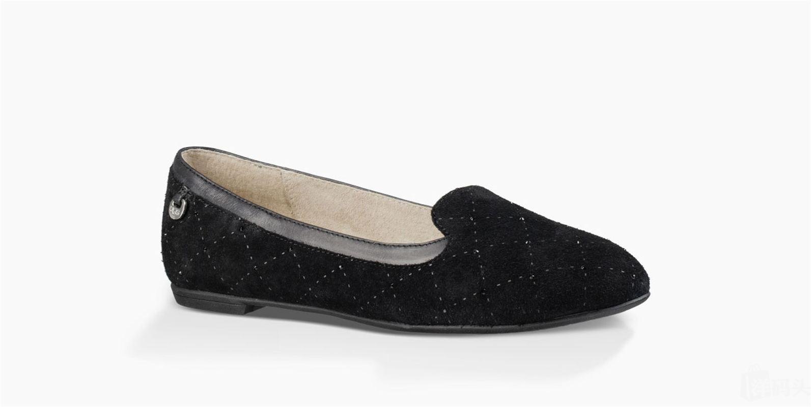 捡漏特价 英国直邮UGG 女士单鞋 休闲平底套脚尖头透气菱格低帮鞋