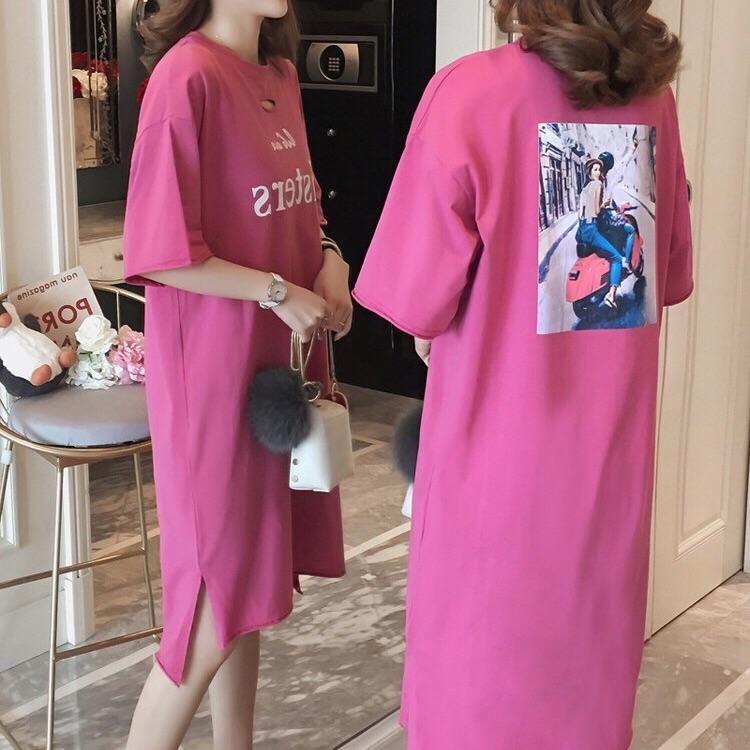 长款五分袖T恤裙破洞圆领新款宽松大码纯棉夏装T恤连衣裙
