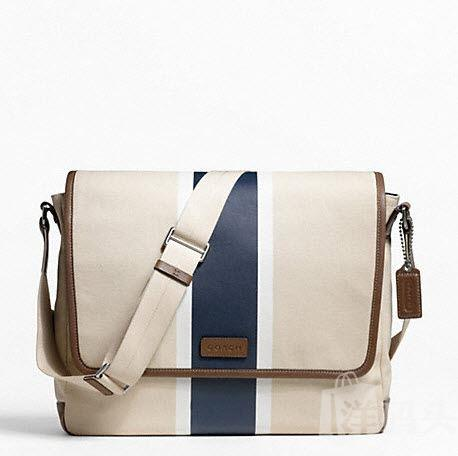 Coach Canvas Printed Stripe Messenger帆布条纹信使包F70886