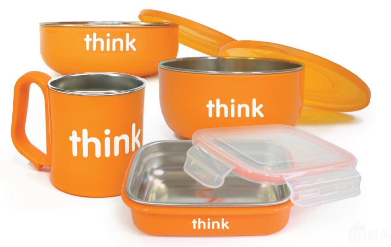 特价 1套包美国直邮Thinkbaby 宝宝儿童餐具套装 4件套 多色 原装不锈钢 无BPA
