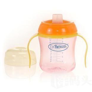 美国Dr Brown's布朗博士PP防漏训练水杯6oz/180ML不含BPA  随机色