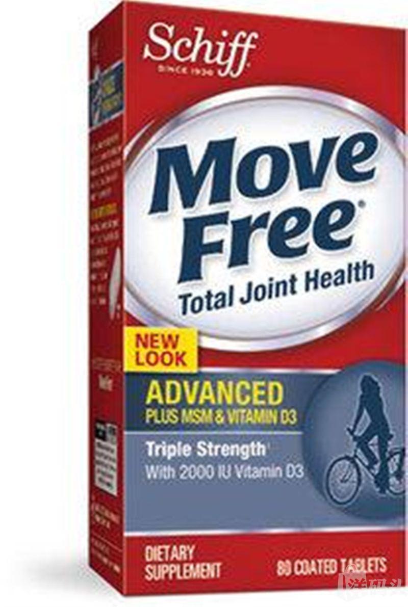 美国直邮Schiff Move Free 蓝瓶维骨力加MSM和VD 80粒