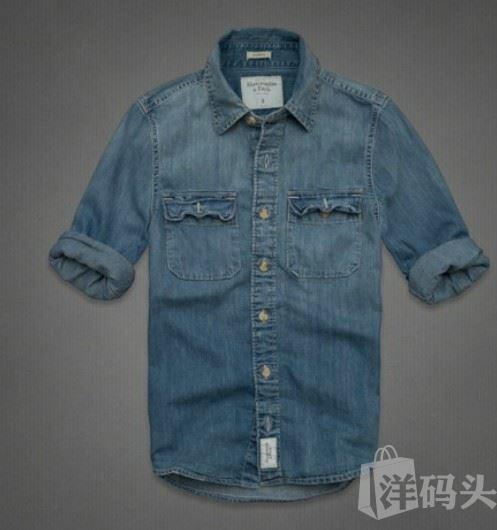 美国现货AF男水洗做旧牛仔衬衫GOTHICS MOUNTAIN DENIM SHIRT