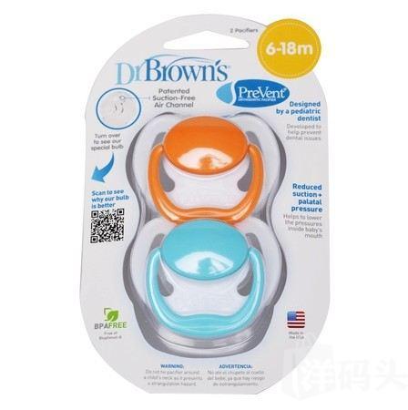 Dr.Brown's布朗博士 PreVent安抚奶嘴 6-18个月 两只装
