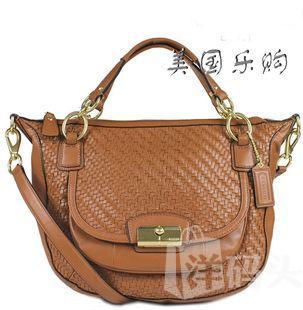 coach 美国代购 女包 f23048 克里斯汀系列编织真皮单肩斜跨包