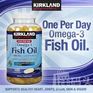 【美国直邮】Kirkland Omega-3高浓度肠溶型深海鱼油 1200mg 180粒