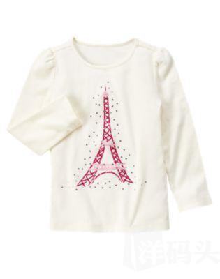 Gymboree金宝贝大童水钻巴黎铁塔T恤9岁