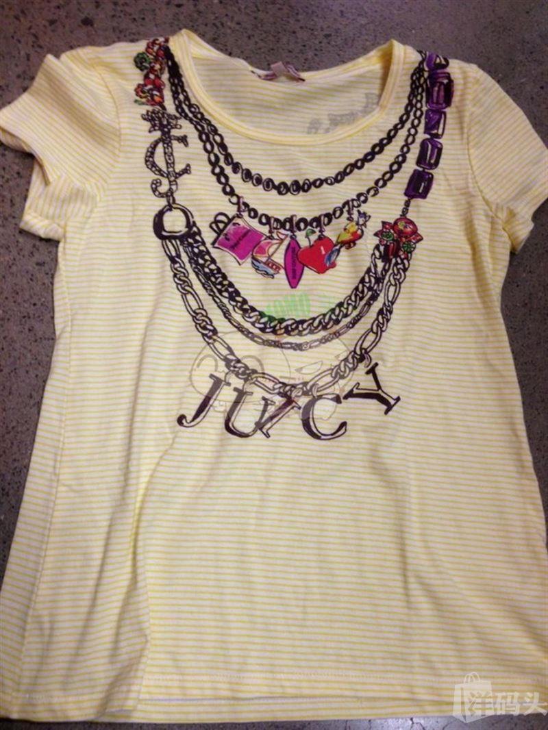 美国现货 Juicy Couture/橘滋 JGO00747 彩花条纹 女士T恤