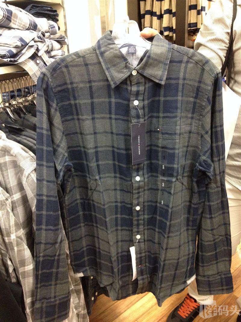 Tommy男士长袖纯棉格子衬衣