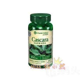 美国Vitamin World美鼠李皮450mg100粒温和通便 助消化 清新口气