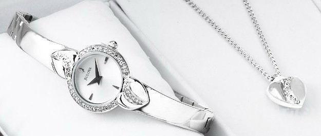 Bulova宝路华96X111女式施华洛世奇水晶腕表和Pendant水晶吊坠套装