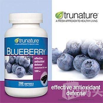 美国直邮TruNature纯天然蓝莓抗氧化精华胶囊 36:1高浓缩1000mg  200粒