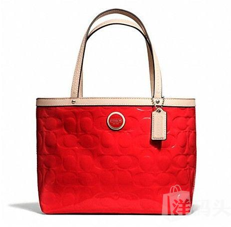 蔻驰 SIGNATURE STRIPE EMBOSSED TOP HANDLE TOTE_STYLE F49826