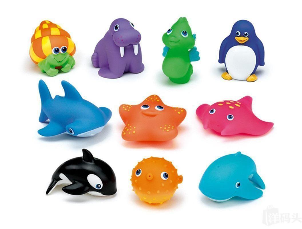 美国直邮麦肯齐Munchkin 宝宝洗澡婴儿戏水喷水玩具 海洋生物8个