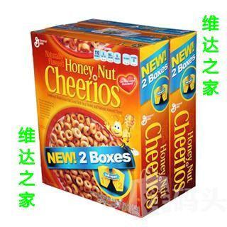 Cheerios营养早餐全谷物蜂蜜味燕麦圈 两盒装 美国直邮